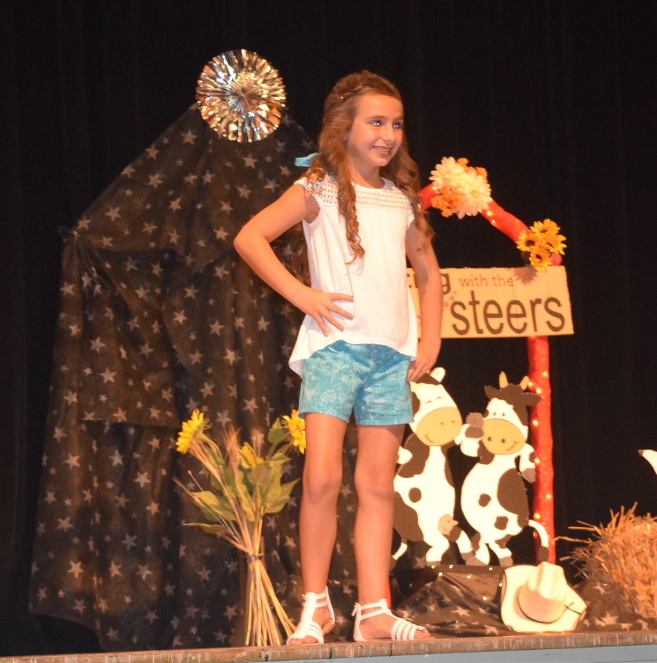 Alexis Gentry models her outfit in the junior division of the Logan County Fair 4-H Fashion Revue Friday, Aug. 4, 2017.