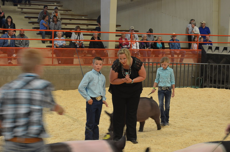 Judge_Melissa_Smith_visits_with_Aden_Young_3rd_during_the_Intermediate_Swine_Showmanship_Contest