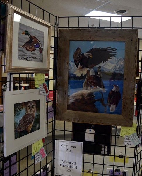 Computer art was among the fine arts projects displayed in the Gary DeSoto Building Friday, Aug. 11, 2017, at the Logan County Fair.