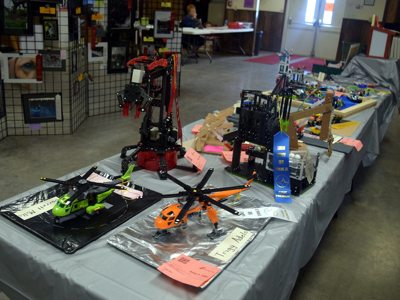 Robotics creations were among the fine arts projects on display in the Gary DeSoto Building Friday, Aug. 11, 2017, at the Logan County Fair.