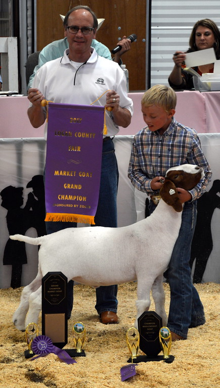 . Beau Carlson, Grand Champion Market Goat, purchased by Wells Fargo Investment Jim Smith.