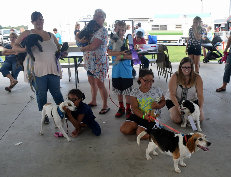 "The winners of the Sterling Lions Clulb's Friendly Dog ""Tail Wagging"" Contest Saturday, Aug. 12, 2017, at the Logan County Fair were, from left; Charlie Adlesperger with Dakota, first place senior division; Aiean Parker with Joey, second place junior division; Deb Nicholson with Bently, second place senior division; Zephran Atkinson with Pressly, fist place junior division; Jay Lee with Sparky, third place junior division; and Elizabeth Adlesperger with Willow, third place senior division."
