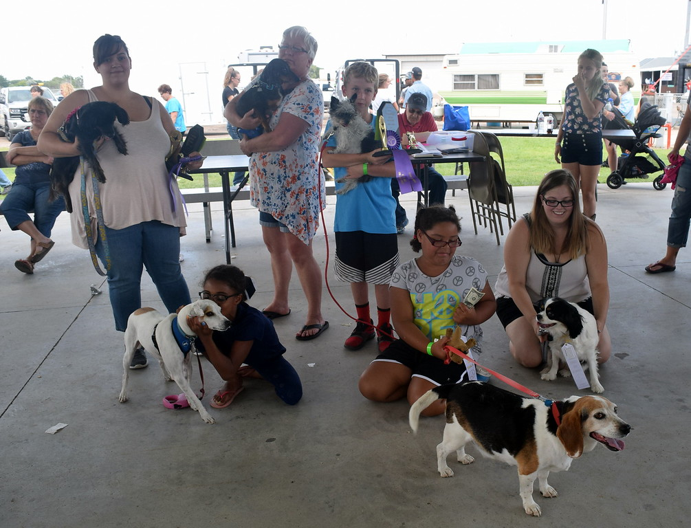 ". The winners of the Sterling Lions Clulb\'s Friendly Dog ""Tail Wagging\"" Contest Saturday, Aug. 12, 2017, at the Logan County Fair were, from left; Charlie Adlesperger with Dakota, first place senior division; Aiean Parker with Joey, second place junior division; Deb Nicholson with Bently, second place senior division; Zephran Atkinson with Pressly, fist place junior division; Jay Lee with Sparky, third place junior division; and Elizabeth Adlesperger with Willow, third place senior division."