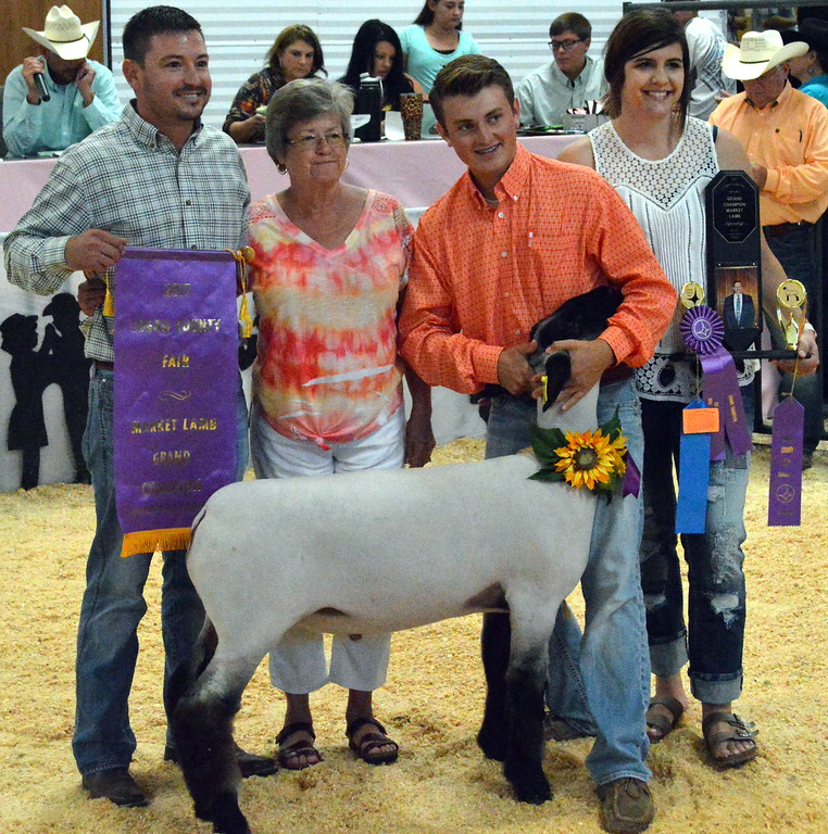. Riley Meisner, Grand Champion Market Sheep, purchased by Ted Fritzler Memorial.