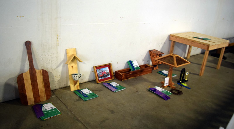 4-H woodworking projects on display underneath the grandstands Wednesday, Aug. 9, 2017, at the Logan County Fair.