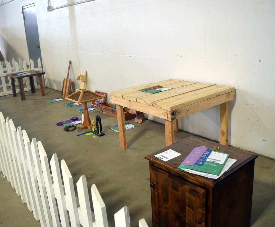 4-H woodworking projects were on display underneath the grandstands Wednesday, Aug. 9, 2017, at the Logan County Fair.