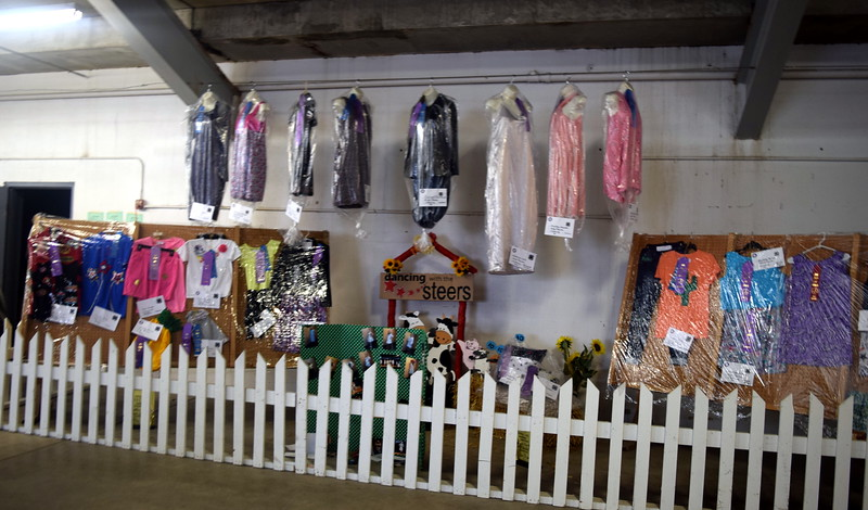 4-H clothing projects on display underneath the grandstands Wednesday, Aug. 9, 2017, at the Logan County Fair.