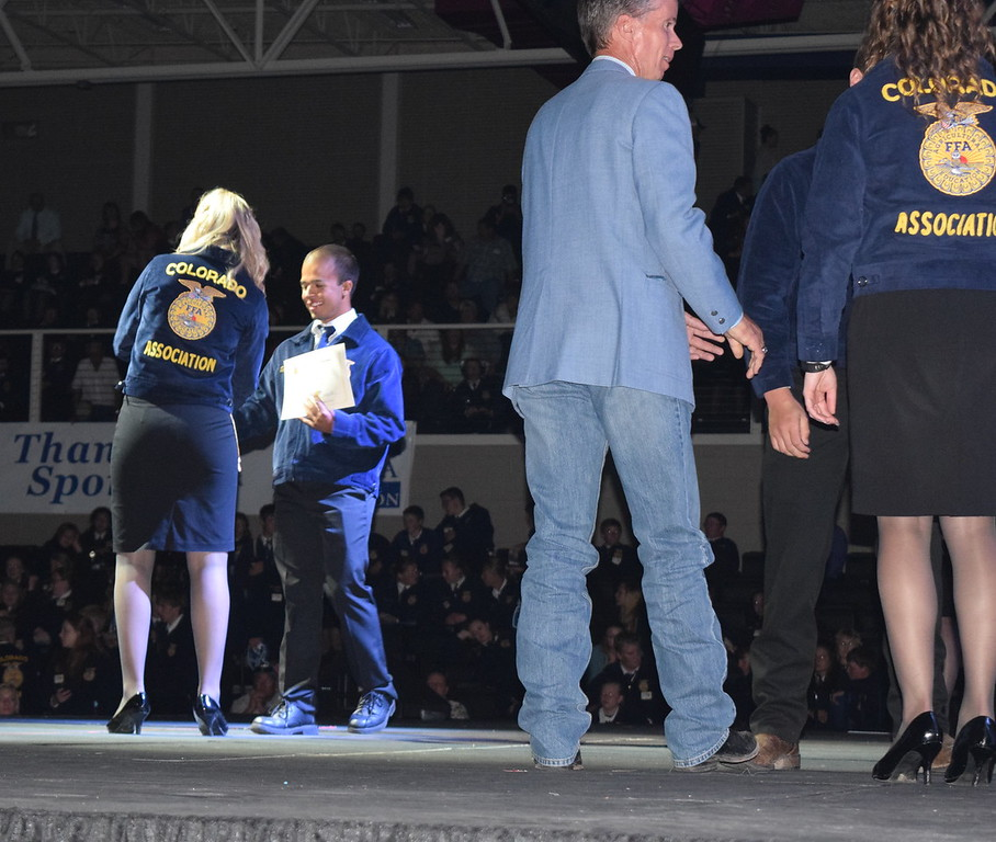 Terrell Devie, of the Caliche FFA chapter, receives his State FFA Degree at the Colorado FFA State Convention Wednesday, June 8, 2016.