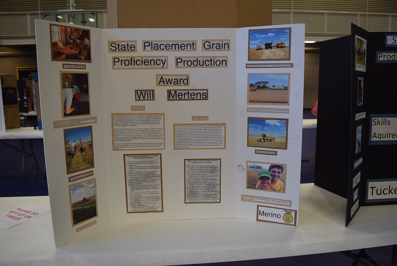 Will Mertens, of the Merino FFA chapter, was the state proficiency award winner in grain production placement for his Supervised Agricultural Experience (SAE) project. His project was one of several on display at an SAE Career Fair at the Colorado FFA State Convention Wednesday, June 8, 2016.