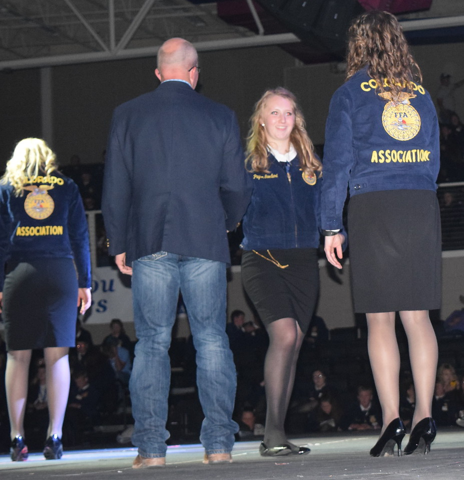 Payton Swedlund, of the Peetz FFA chapter, makes her way across the stage after receiving her State FFA Degree at the Colorado FFA State Convention Wednesday, June 8, 2016.
