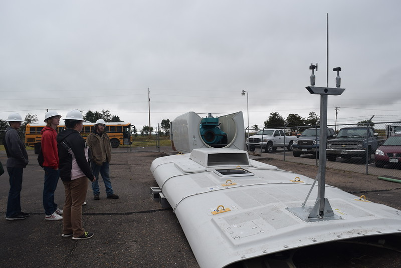 Peetz and Caliche High School students get an up-close look at different parts of a wind turbine Friday, Oct. 6, 2017, during a tour of the wind tech program for the Manufacturing Sector Partnership in Northeast Colorado's Manufacturing Day event.