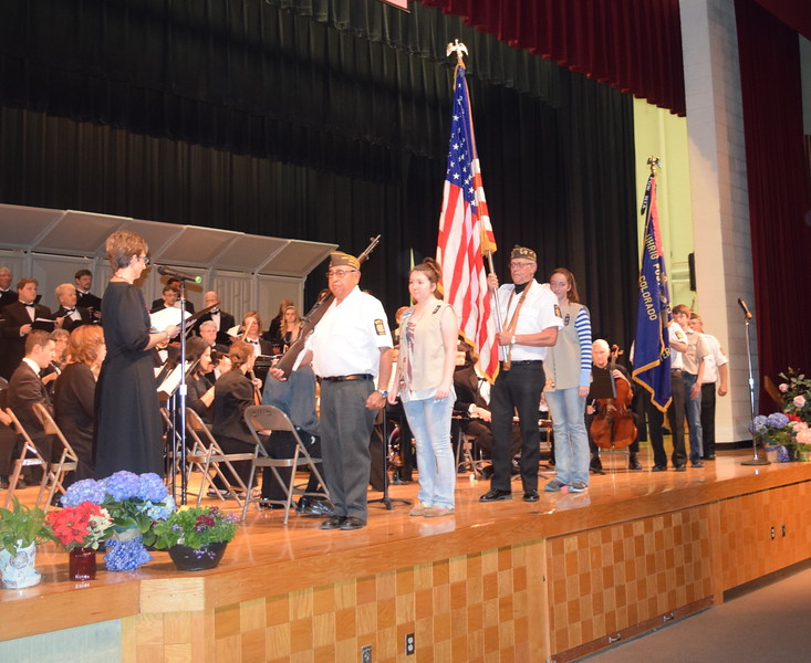 "The Color Guard makes its way across the stage as Master Chorale prepares to sing Armed Forces – The Pride of America"" during its Spring Concert XXV Sunday, May 8, 2016."