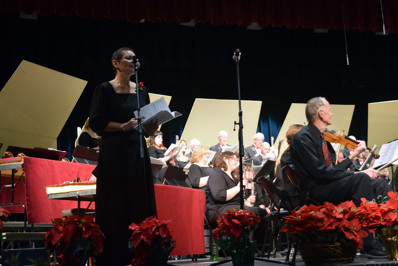 "Christine Penner sings a solo during Master Chorale's performance of ""A Child is Gonna Come"" at their 26th Noel Christmas Concert Sunday, Dec. 10, 2017."
