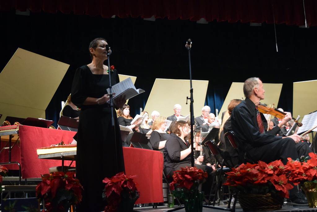 ". Christine Penner sings a solo during Master Chorale\'s performance of ""A Child is Gonna Come\"" at their 26th Noel Christmas Concert Sunday, Dec. 10, 2017."