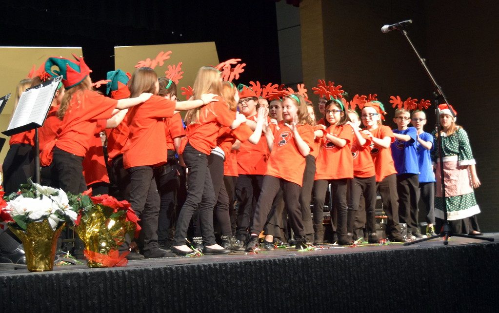 ". The RE-1 Valley Children\'s Chorale, under the direction of Annette Lambrecht and Dana May, perform ""The Christmas Tree Feud\"" at Master Chorale\'s 26th Noel Christmas Concert Sunday, Dec. 10, 2017."