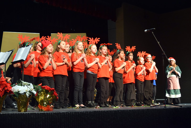 "The RE-1 Valley Children's Chorale, under the direction of Annette Lambrecht and Dana May, perform ""The Christmas Tree Feud"" at Master Chorale's 26th Noel Christmas Concert Sunday, Dec. 10, 2017."