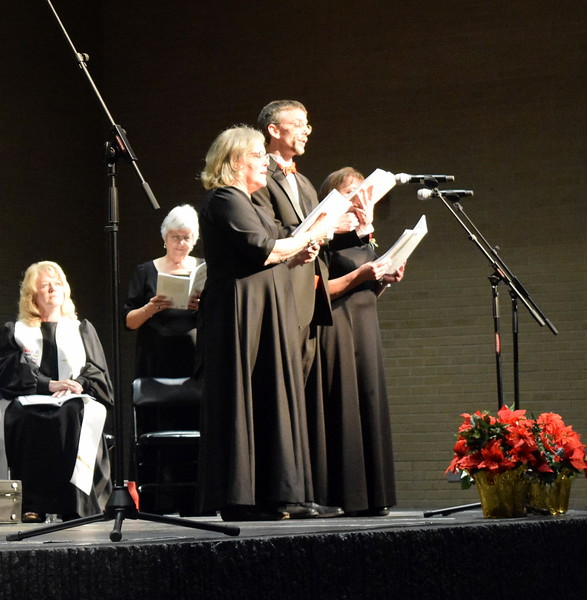 "Connie Nelson, Deborah Harris and Mike Kiser sing a trio during Master Chorale's performance of ""Angel Band"" at their 26th Noel Christmas Concert Sunday, Dec. 10, 2017."