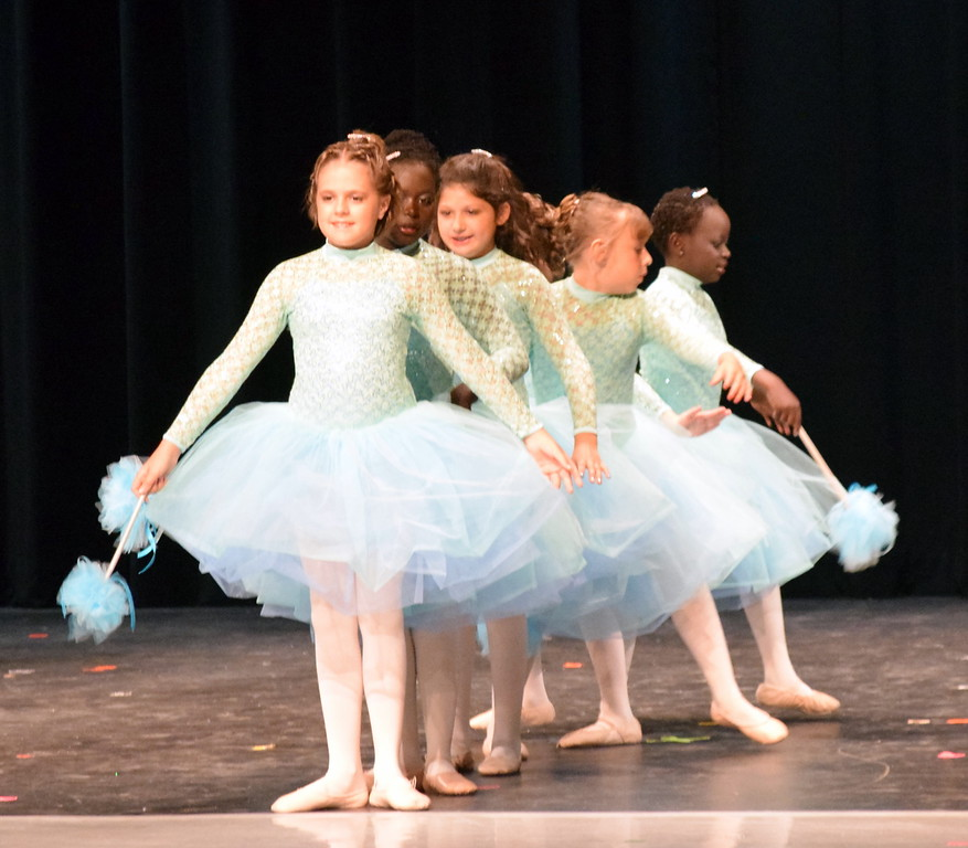 ". Chloe Hutcheson, Addison Koester, Abigail Kelley, Christina Mackintosh, Fidha Mackintosh and Tatum Bowen dance to ""Bippity Boppity Boo\"" at Melissa\'s School of Dance and Gymnastics\' \""Dance In Motion\"" recital Wednesday, June 13, 2018."