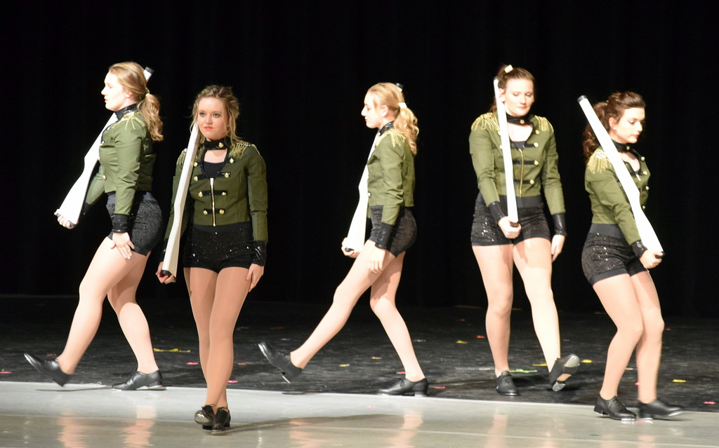 ". Emory Underwood, Sydney Wright, Madi Amen, Katie Masters and Sonja Hadley dance to ""Military March\"" at Melissa\'s School of Dance and Gymnastics\' \""Dance In Motion\"" recital Wednesday, June 13, 2018."