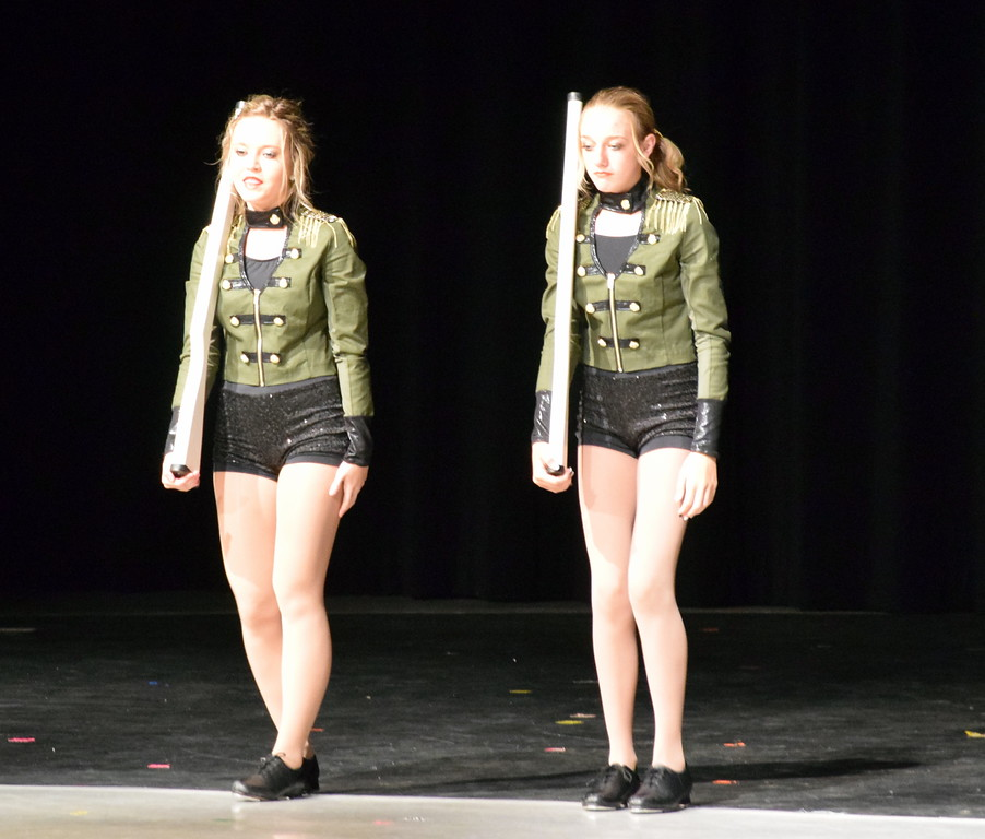 ". Sydney Wright and Madi Amen dance to ""Military March\"" at Melissa\'s School of Dance and Gymnastics\' \""Dance In Motion\"" recital Wednesday, June 13, 2018."