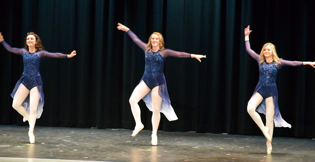 ". Sonjia Hadley, Emory Underwood and Sydney Wright dance to ""Only Just Met You\"" at Melissa\'s School of Dance and Gymnastics\' \""Dance In Motion\"" recital Wednesday, June 13, 2018."
