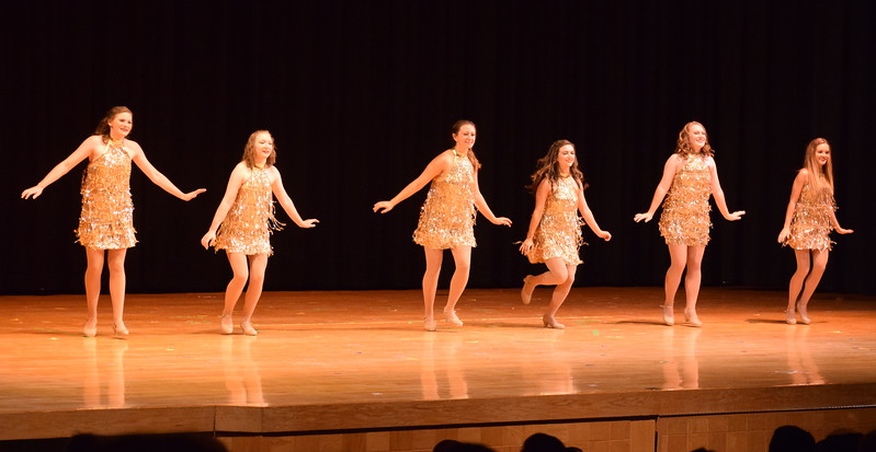 "Katie Masters, Emory Lesh, Tabby Rangel, Sonjia Hadley, Emory Underwood and Sydney Wright dance to ""Rock This Town"" at Melissa's School of Dance and Gymnastics' ""Remember When"" spring recital Wednesday, June 14, 2017."