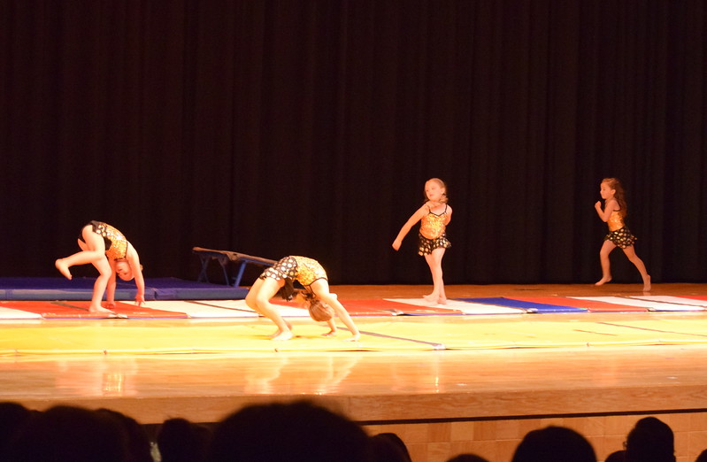 "Gymnasts perform to ""Gummy Bears"" at Melissa's School of Dance and Gymnastics' ""Remember When"" spring recital Wednesday, June 14, 2017."