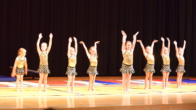 "Madison Nolan, Chloe Kloberdanz, Bryar Lee, Madalynn Rinaldo, Faith Spicer, Noelle Murphy, Jeorgia Stroyek, Aly Johnson and Lucy Einsminger take a bow after performing a gymnastics routine to ""Gummy Bears"" at Melissa's School of Dance and Gymnastics' ""Remember When"" spring recital Wednesday, June 14, 2017."