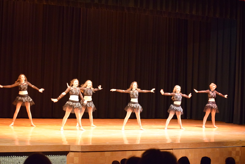 """Katie Masters, Dillyn Morton, Haley Kerr, Abigail Smith, Maggie Alsup and Arabella Melton dance to """"Disturbia"""" at Melissa's School of Dance and Gymnastics' """"Remember When"""" spring recital Wednesday, June 14, 2017."""