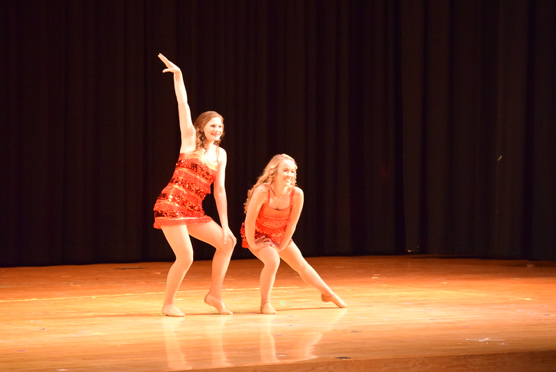 "Maggie Alsup and Katie Masters dance to ""Can't Touch It"" at Melissa's School of Dance and Gymnastics' ""Remember When"" spring recital Wednesday, June 14, 2017."