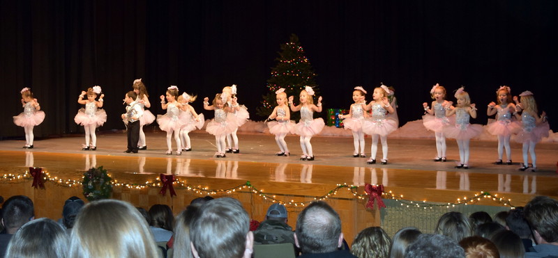 "Monic Weis, Mathew Baird, Victoria Hulbert, Laurel Murphy, Callie Schoenberg, Gracie Abrahamson, Brinkley Hecht, Bristol Cook, Adley Larralde, Ashtyn Fuller, Brynn McBride, Syrie Richie, Jayla Samen, Makenna Eastin, Lilly Johnson and Mya DeMaria dance to ""Jingle Bells"" at Melissa's School of Dance and Gymnastics' holiday recital, ""T'was the Night Before Recital...,"" Saturday, Dec. 17, 2016."