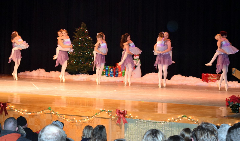 "Emory Lesh, Noelle Murphy, Tabby Rangel, Lindsey Richie, Sydney Wright, Lauren Lorenzo, Sonjia Hadley, Hailey Foes, Emory Underwood, Elizabeth Waller, Arabella Melton and Kiran McCracken dance to ""Do You Hear What I Hear"" at Melissa's School of Dance and Gymnastics' holiday recital, ""T'was the Night Before Recital...,"" Saturday, Dec. 17, 2016."