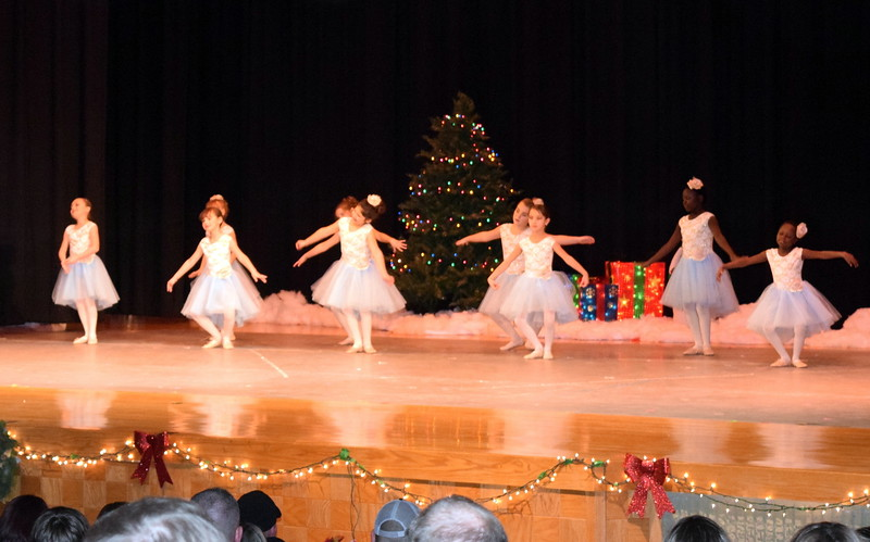 "Aubrey Luttrell, Chloe Hutt, Addison Koester, Faithe Spicer, Fidha Mackintosh, Tatum Bowen, Emma Feather, Annabelle Hulbert and Christina Mackintosh dance to ""Little Drummer Boy"" at Melissa's School of Dance and Gymnastics' holiday recital, ""T'was the Night Before Recital...,"" Saturday, Dec. 17, 2016."
