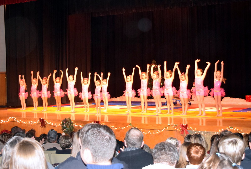 "Gymnasts Aja Richie, Aeris Evanson, Taylor Tonche, Sophia Rios, Ava Reeves, Hailey Foos, Lauren Lorenzo, Ciana Lousberg, Ashley Bornhoft, Grace Peterson, Elizabeth Cordova, Cheyanne Buchanan, Abby Paceco, Connie Gassaway, Sydney Simmons and Serenety Dick take a bow following their performance during Melissa's School of Dance and Gymnastics' holiday recital, ""T'was the Night Before Recital...,"" Saturday, Dec. 17, 2016."
