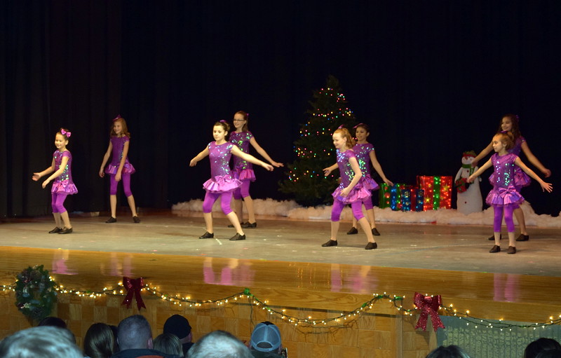 "Kenah Meraz, Soryn Lee, Audrey Reeves, Taylor Tonche, Kaylee Myers, Kailynne Swingle, Elizabeth Cordova, Abby Pacheco and Sydney Simons dance to ""Underneath the Tree"" at Melissa's School of Dance and Gymnastics' holiday recital, ""T'was the Night Before Recital...,"" Saturday, Dec. 17, 2016."