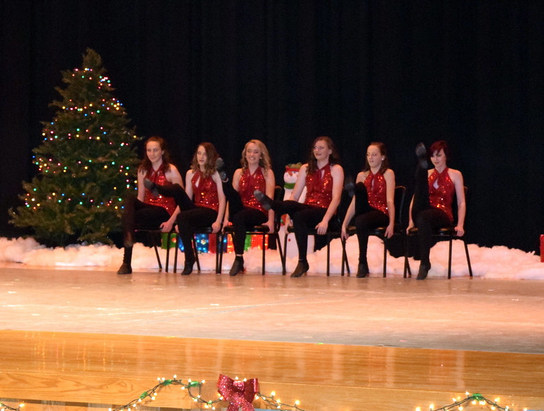 "Abigail Smith, Morgan Selye, Maggie Alsup, Katie Masters, Dillyn Morton and Arabella Melton dance to ""It's Christmas"" at Melissa's School of Dance and Gymnastics' holiday recital, ""T'was the Night Before Recital...,"" Saturday, Dec. 17, 2016."