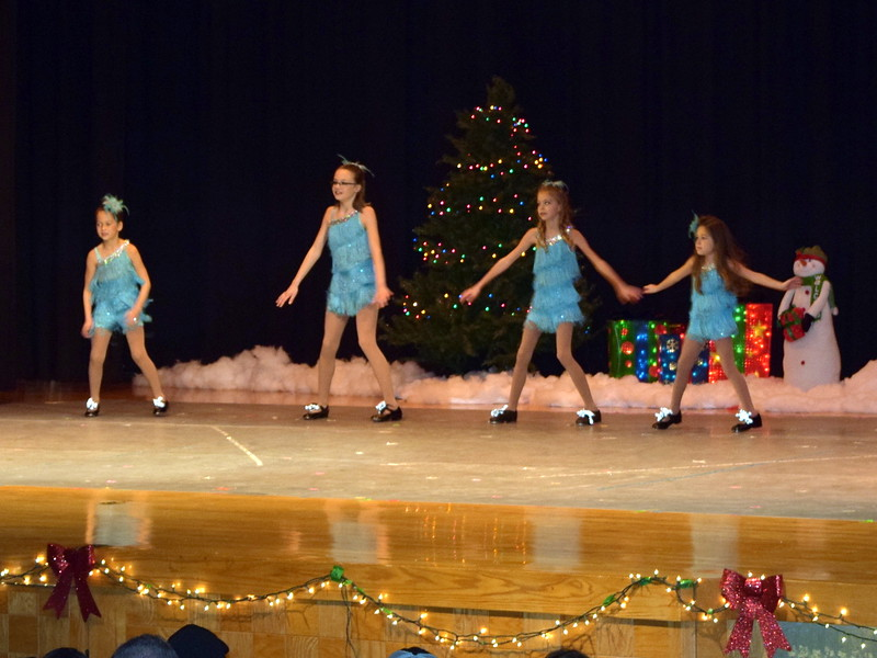 "Kenah Meraz, Kailynne Swingle, Ashley Bornhoft and Emoree Lousberg dance to ""Winter Wonderland"" at Melissa's School of Dance and Gymnastics' holiday recital, ""T'was the Night Before Recital...,"" Saturday, Dec. 17, 2016."