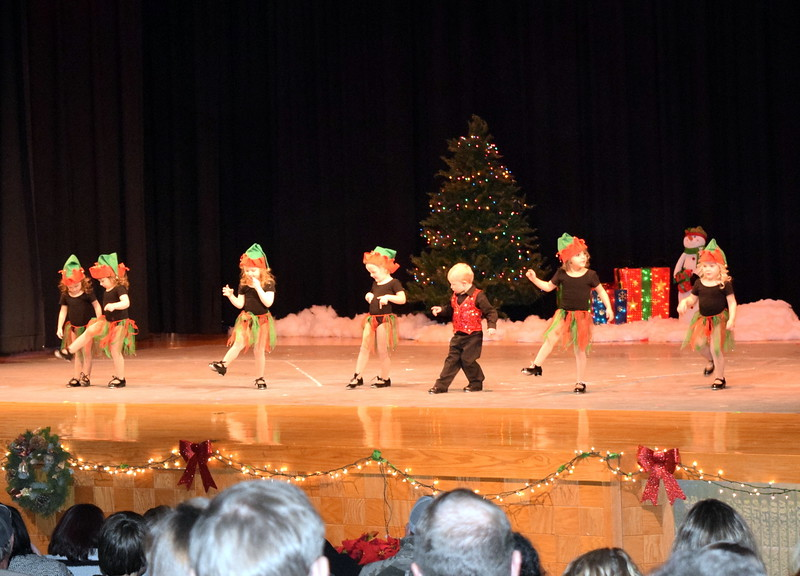 "McKinley Nolan, Brooklyn Murray, Emery Wolf, Adley Miller, Mason Hulbert, Moriah Perez and Diem Schuppe dance to ""Mickey the Merry Christmas Elf"" at Melissa's School of Dance and Gymnastics' holiday recital,  ""T'Was the Night Before Recital...,"" Saturday, Dec. 17, 2016. The recital featured 21 dance and gymnastics routines by the students of Melissa Craddock."