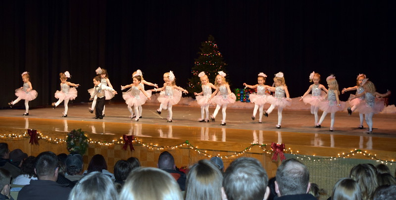 "Monic Weis, Mathew Baird, Victoria Hulbert, Laurel Murphy, Callie Schoenberg, Gracie Abrahamson, Brinkley Hecht, Bristol Cook, Adley Larralde, Ashtyn Fuller, Brynn McBride, Syrie Richie, Jayla Samen, Makenna Eastin, Lilly Johnson and Mya DeMaria dance to ""Jingle Bells"" at Melissa's School of Dance and Gymnastics' holiday recital, ""T'was the Night Before Recital...,"" Saturday, Dec. 17, 2016"