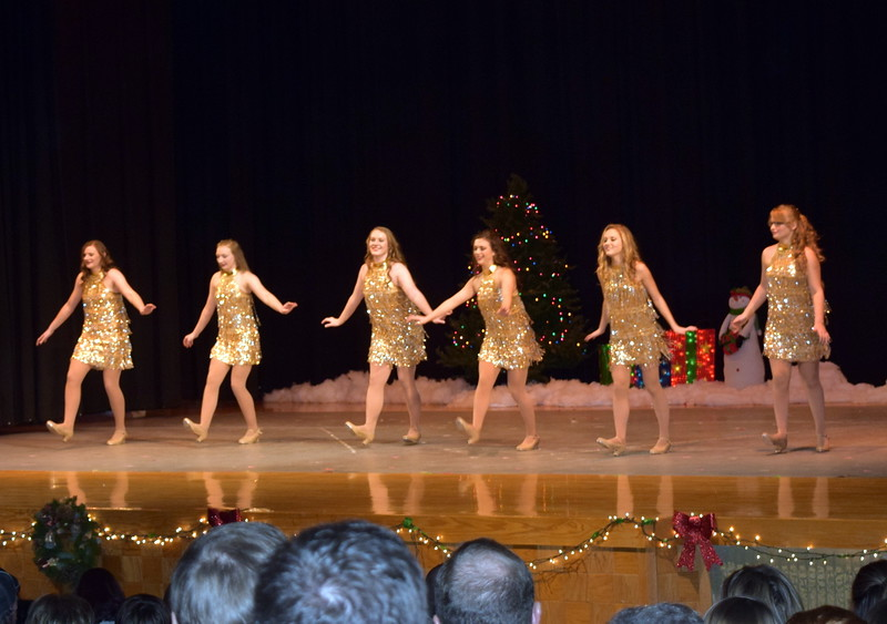 "Katie Masters, Emory Lesh, Emory Underwood, Sonjia Hadley, Sydney Wright and Kayleigh Mackintosh dance to ""Run, Run, Rudolph"" at Melissa's School of Dance and Gymnastics' holiday recital, ""T'was the Night Before Recital...,"" Saturday, Dec. 17, 2016."