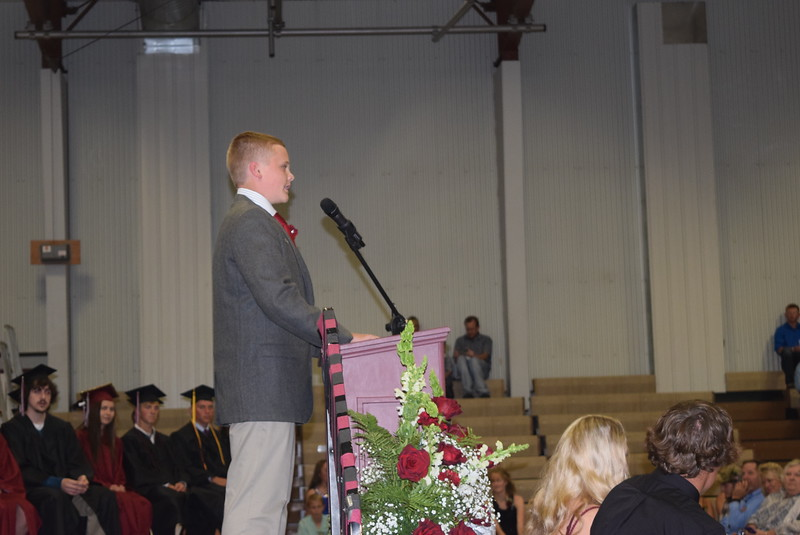Eighth grade class president Jake Hettinger gives remarks at Merino Jr./Sr. High School commenement exercises Sunday, May 21, 2017.