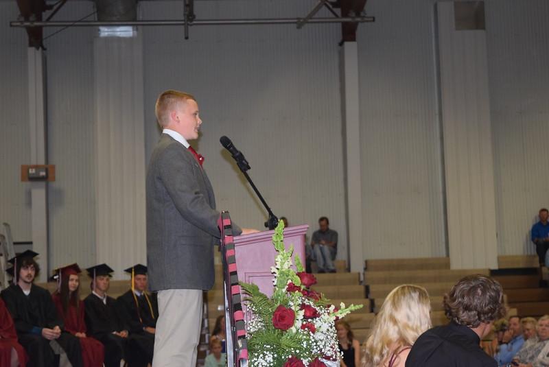 Eighth grade class president Jake Hettinger gives remarks at Merino Jr./Sr. High School commenement exercises Sunday, May 21, 2017.