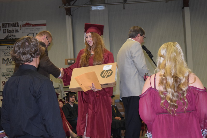 Teryl Fenn was one of three Merino High School graduates that received a free laptop or tablet from anonymous donor at the school's commencement Sunday, May 21, 2017.