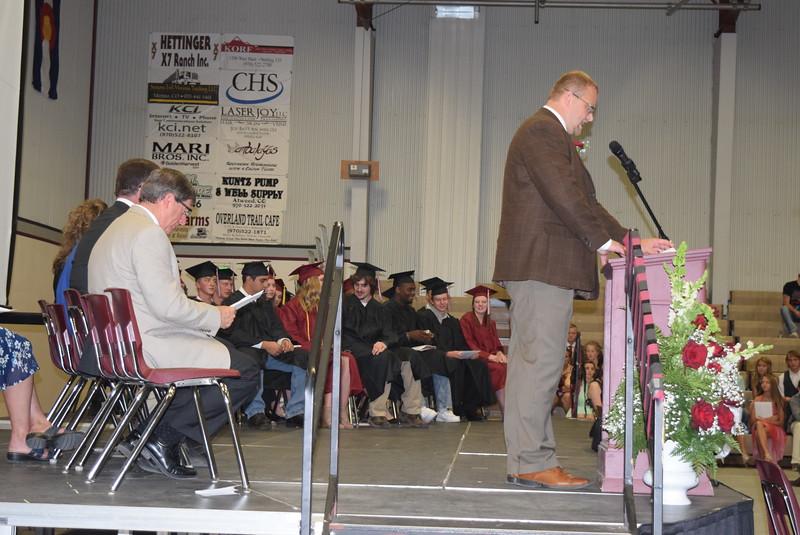 Merino High School graduates listen to Principal Lonnie Brungardt speak at commencement Sunday, May 21, 2017.