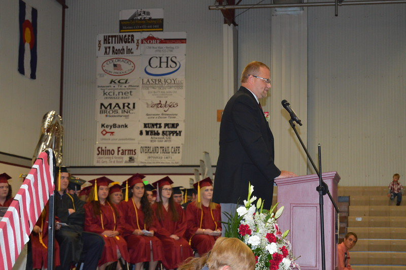 Merino High School Principal Lonnie Brungardt speaks at the commencement ceremony Sunday, May 15, 2016.