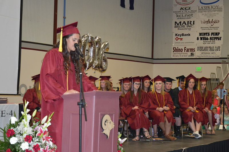 Valedictorian Breanna Tramp speaks during the Merino graduation ceremony Sunday, May 15, 2016.