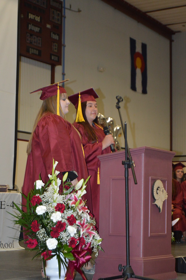 Salutatorians Kayelani Kirschbaum and Miranda Wiebers speak at the Merino graduation ceremony Sunday, May 15, 2016.