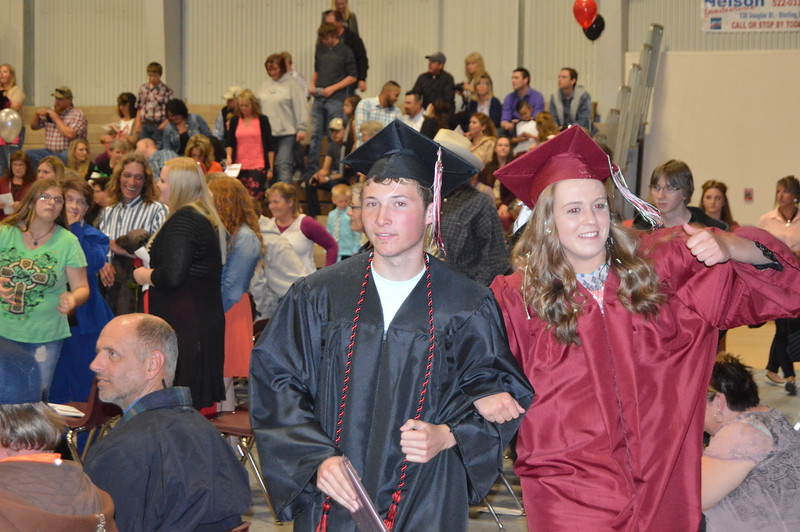 The recessional following the commencement exercises at Merino High School May 15, 2016.