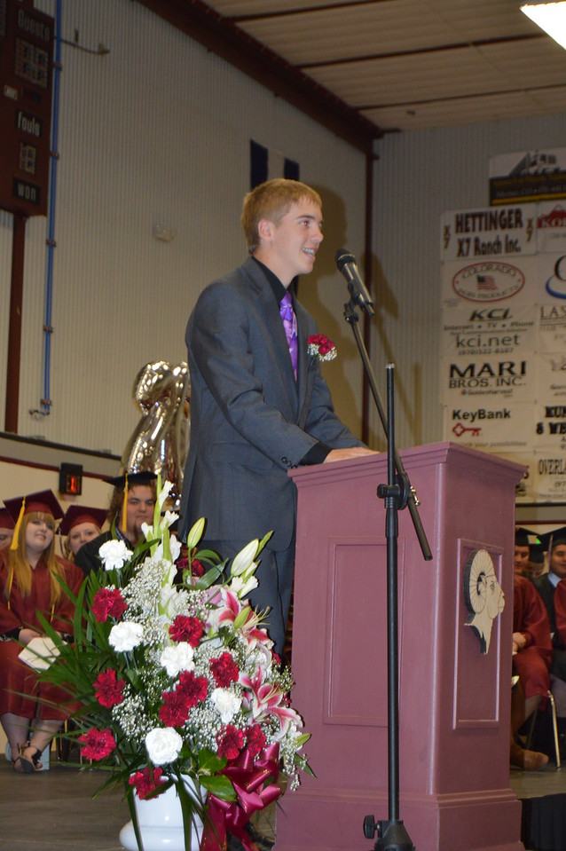 Merino eighth grade class president Cade Conger speaks before the continuation ceremony Sunday, May 15, 2016.