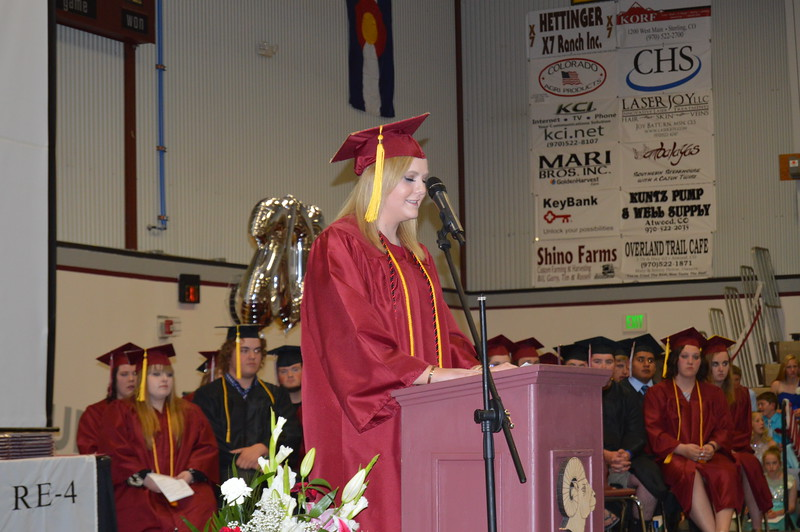 Salutatorian Nicole Hrbek speaks during the Merino commencement ceremony Sunday, May 15, 2016.